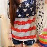 [grhmf26000135]Vintage Bat Sleeve American Flag Shirt-white