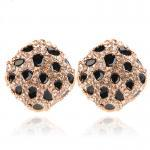 [grhmf230006]Retro leopard full diamond ear clasp earrings