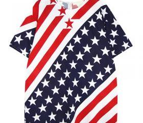 [grhmf26000125]Unique American Flag Navy Short-sleeved T-shirt