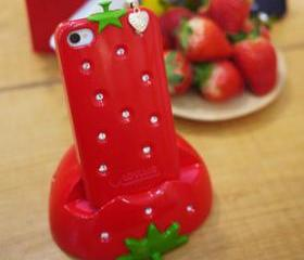 [grhmf2100022]Sweet Strawberry Rhinestones Case For Iphone 4/4s