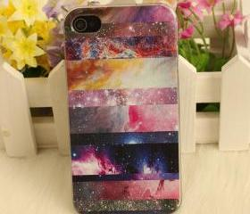 [grhmf2100016]Galaxy Painted Colorful Star Hard Cover Case For Iphone 4/4s