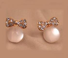 [grhmf230001]Vintage Opal Bow Full Of Diamond Earrings&Stud