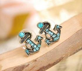 [grhmf230003]European and American retro navy diamond sea anchor earrings & stud
