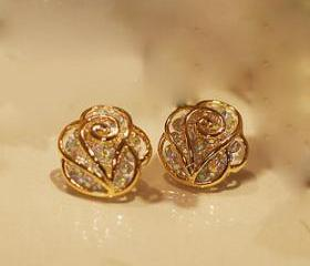 [grdx02043]The fashion rhinestone Camellia earrings &stud