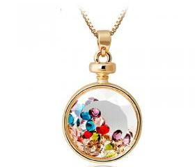 [grhmf2100003]Crystal Wishing Bottle Pendant Necklace