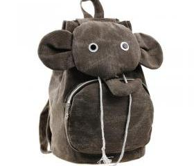 [grdx03062]Lovely Elephant Canvas Backpack