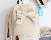 [grd03057]Fashion Cream Lace Backpack with Red Floral Bow