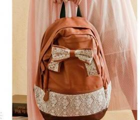 [grd03057]Fashion Brown Lace Backpack with Red Floral Bow
