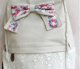 [grd03057]Fashion Light Cream Lace Backpack with Red Floral Bow
