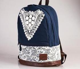 [grd03052]Fashion Blue Backpack with Crochet