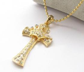 [grhmf2100007]Cross And Crown Necklace