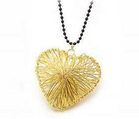 [grhmf2100009]Golden Filament Hollow Out Love Necklace